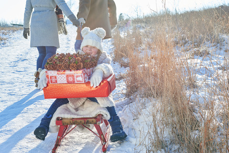 Family delivering christmas presents with sled in winter Standard-Bild