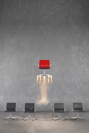 Flying business chair as career ladder concept or success (3D Rendering) Banque d'images