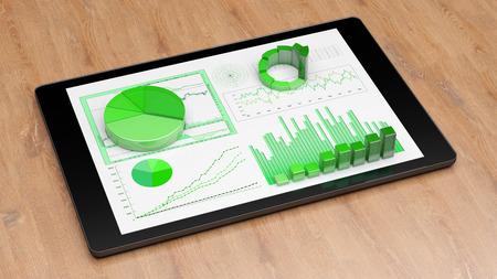 Digitale financiële analyse voor duurzaamheid en ecologische groei op tablet (3D Rendering)