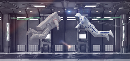 Two hovering astronauts making scary discovery in their spaceship (3D Rendering)