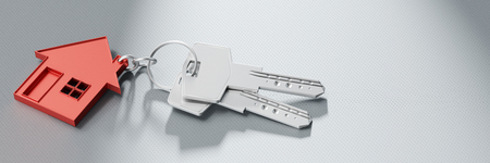 Panorama with keys in a house shaped keychain as house purchase or building construction concept (3D Rendering)