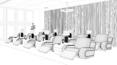 Wire mesh CAD draft of home cinema room (3D Rendering)