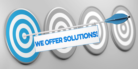 We offer solutions! slogan on target as competence and service concept (3D Rendering)
