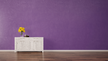 Cabinet furniture in living room with purple blank background wall (3D Rendering)