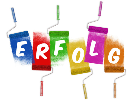German word Erfolg (success) on paint roller color (3D Rendering) Stock Photo