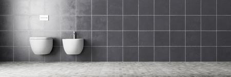 Panorama de WC et bidet sur mur carrelé dans une salle de bain (rendu 3D)