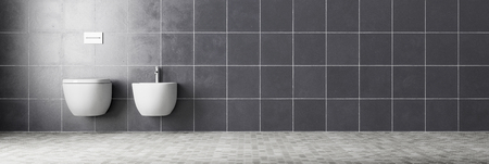 Panorama of WC and bidet on tiled wall in a bathroom (3D Rendering)