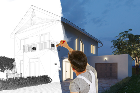 Painter painting picture of modern house from sketch drawing to realistic 3D Rendering Stock Photo