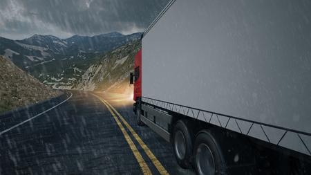 Agencia de transporte de entrega druck conduciendo bajo la lluvia (representación 3D) Foto de archivo