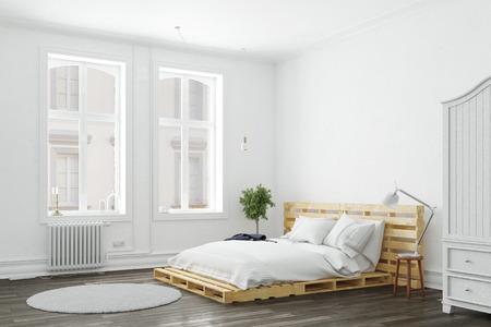 Chambre minimaliste avec lit en palette et mobilier blanc (rendu 3D) Banque d'images