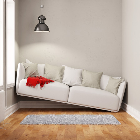 Sofa squeezed in too small narrow living room (3D Rendering)