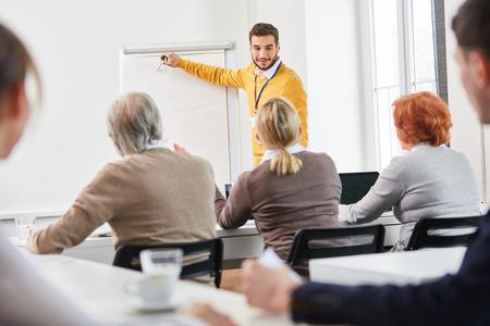 Consultor empresarial como conferencista en presentación de consultoría para grupo