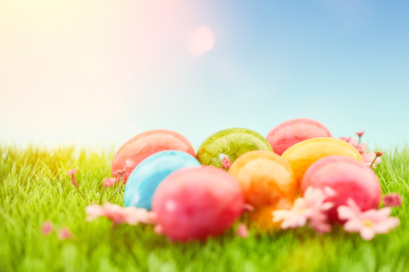 Colorful easter eggs in the grass to easter with bright sun at the blue sky Stock Photo