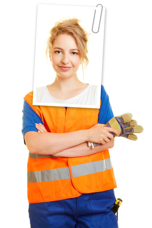 Application photo of a woman for training as a road builder or construction worker