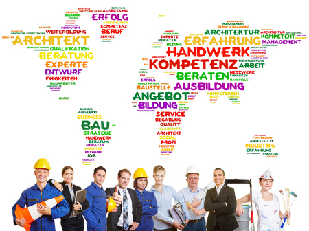 Group of international craftsman and workers standing before a tag cloud consisting of theme-affiliated German words, for example Handwerk (craftsmanship), Kompetenz (competence) & Ausbildung (training)