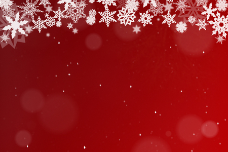 Winter scene as a background in red with snow at Christmas 版權商用圖片