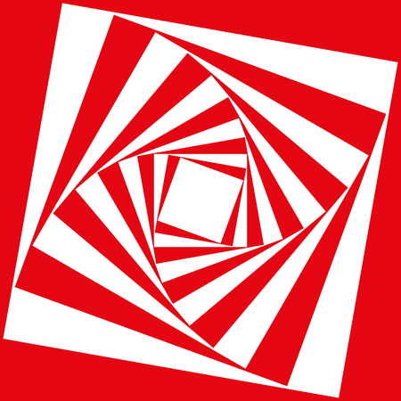 Spiral pattern of staggered squares in red and white as a psychedelic illusion 스톡 콘텐츠