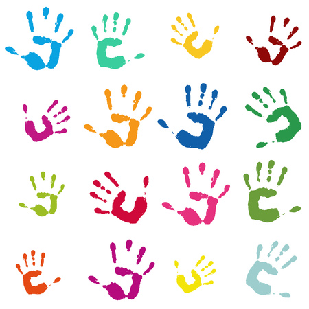 Many colorful hand imprints as a tileable pattern and symbol for family and team