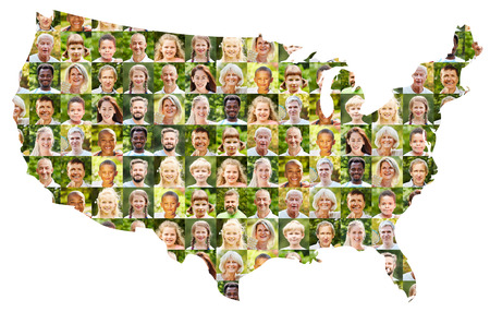 Outdoor portrait collage of people of different generations on USA map as active society concept