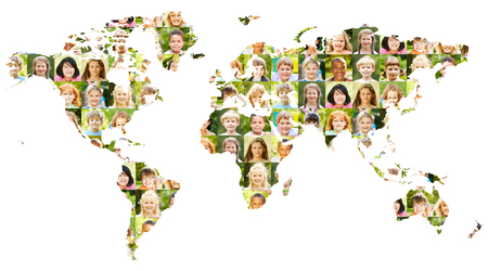 Collage of children's portraits on world map as a diverse concept for world population, childhood and society 版權商用圖片