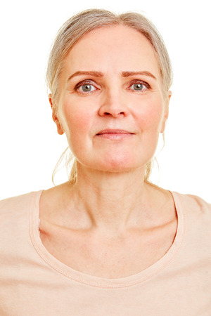 Face of an elderly smiling woman frontal view from the front