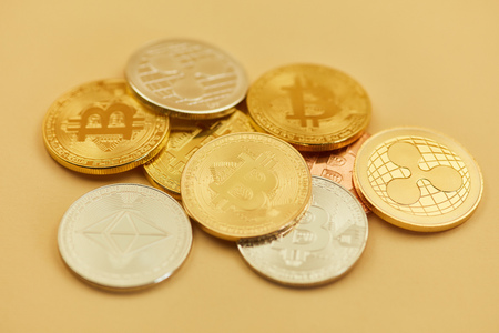 Digital Currency Coins of Bitcoin Ripple or Ether as cash