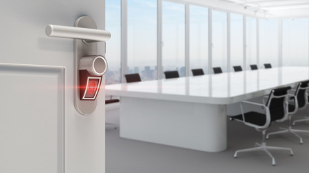 Smart lock for office door with fingerprint access (3D Rendering)