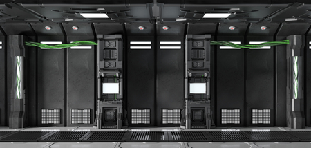Monitor on wall of Sci-Fi spaceship as technology concept (3D Rendering)