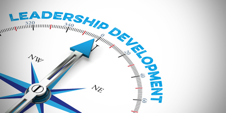 Panorama leadership development concept on compass (3D Rendering)