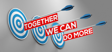 Together we can do more slogan as team or teamwork and success (3D Rendering)