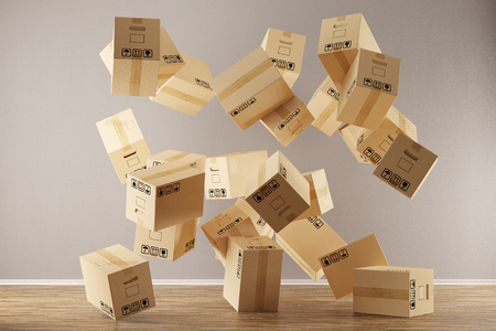 Many moving boxes floating and falling in empty room (3D Rendering)