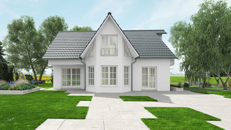 House for single family home with garden (3D Rendering)
