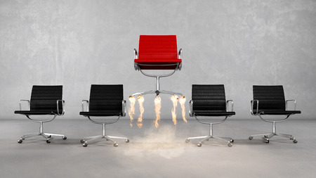 Business career with boss chair with fire underneath as success concept (3D Rendering)