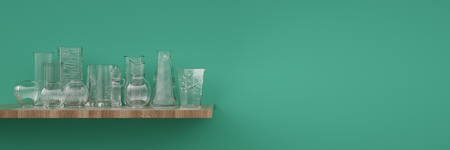 Glass vase decoration on shelf with turquoise background wall (3D Rendering)
