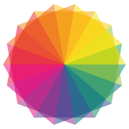 Color fans and color wheel in rainbow shades
