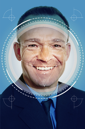 Face recognition of stood businessman by AI for security and ID Banque d'images - 119655006