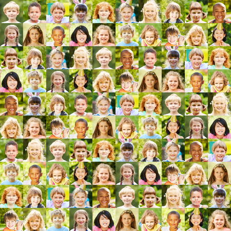 Collage of childrens portraits as a concept for community, society and childhood