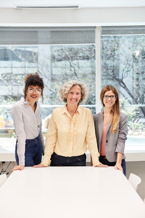 Three successful business women and apprentices together at the conference table in the office Banque d'images - 121134733