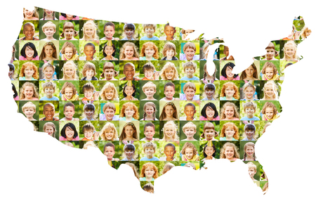 Collage of children's portraits on USA map as a diverse concept for childhood and society