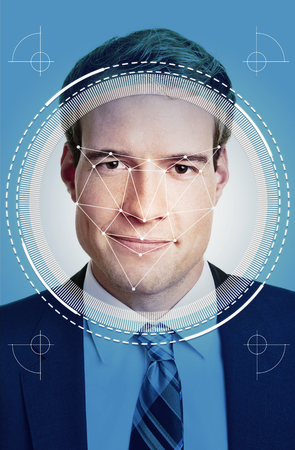 Face recognition of young businessman by AI for security and identification Banque d'images - 122622210