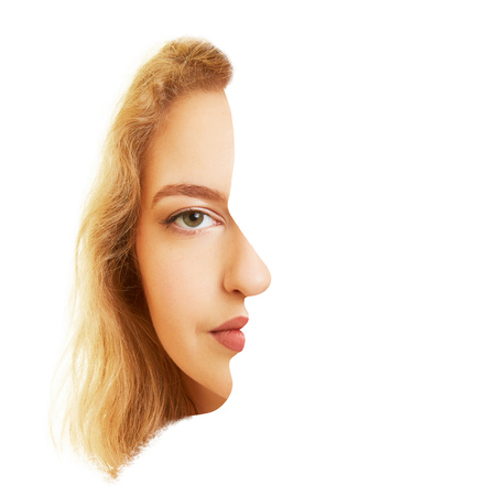 Face of a woman head-on and sideways as a surreal optical illusion
