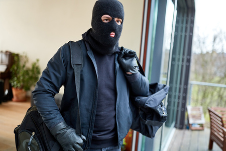 Masked burglar escapes from house with bag full of loot