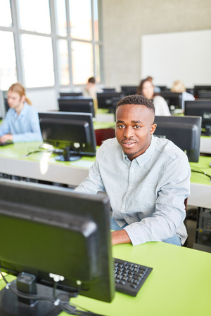 African student in computer training and e-learning in university Archivio Fotografico