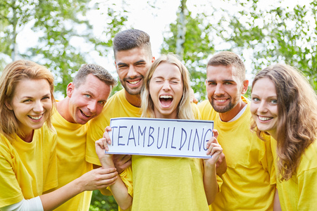Students as a successful start-up team are looking forward to the team building event