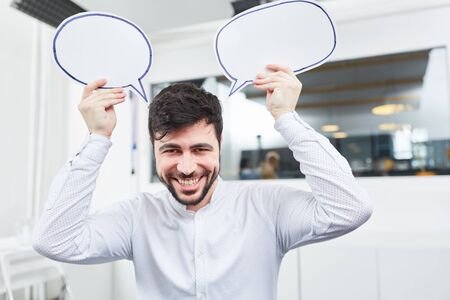 Founder with creativity speech bubbles for start-up ideas