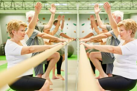 Group of seniors rehabilitating on the ballet bar makes exercise to coordination and motor skills Archivio Fotografico
