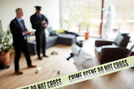 Forensic police investigates a crime scene after a crime