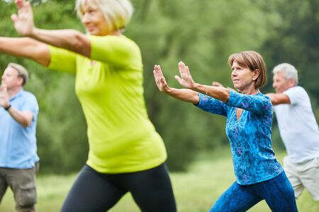 Seniors do Qi Gong or Tai Chi exercise for relaxation and health Stock Photo