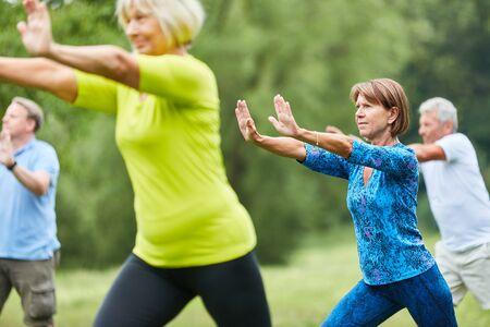 Seniorzy wykonują ćwiczenia Qi Gong lub Tai Chi dla relaksu i zdrowia
