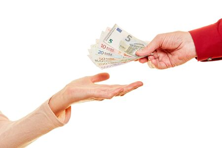 Hand over money or donate as Euro banknotes